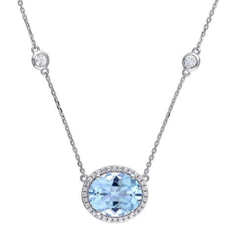 6.49 CT. Oval-Cut Blue Topaz and White Sapphire with Diamond Accent Halo Station Necklace in 14K White Gold