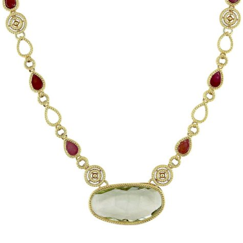Allura 17.52 CT. Oval-Cut Green Amethyst and Multi-Color Sapphire Bar Necklace in 14K Yellow Gold,