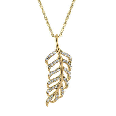 .33 ct. t.w. Diamond Leaf Pendant in Yellow Gold