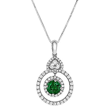 Round Shaped Emerald Pendant with Diamonds in 18K White Gold