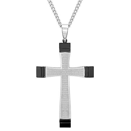 Men's Stainless Steel with Black IP Plating Lord's Prayer Cross Pendant