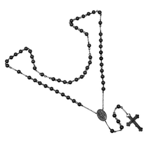 Black IP Plated Stainless Steel Rosary