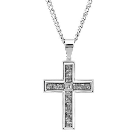 Men's Stainless Steel and Carbon Fiber Cross Pendant with Diamond