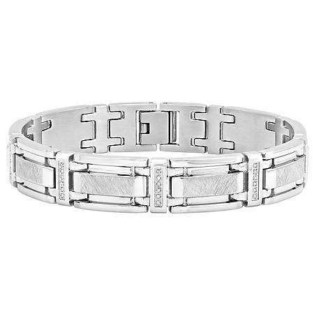 Men's .25 ct. t.w. Stainless Steel Diamond Bracelet