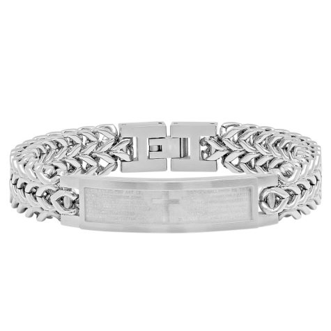Men's Stainless Steel Lord's Prayer ID Bracelet