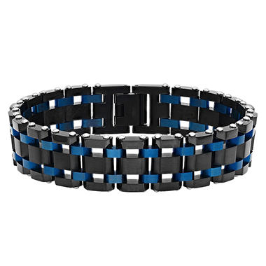 Men's Stainless Steel Black and Blue IP Plated Bracelet