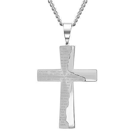 Men's Stainless Steel Lord's Prayer Cross Pendant