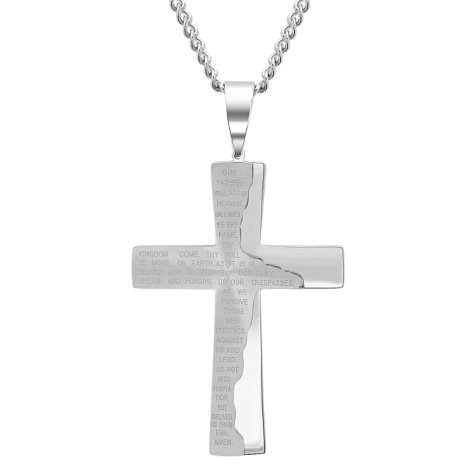 Men's Stainless Steel Lord's Prayer Cross Pendant