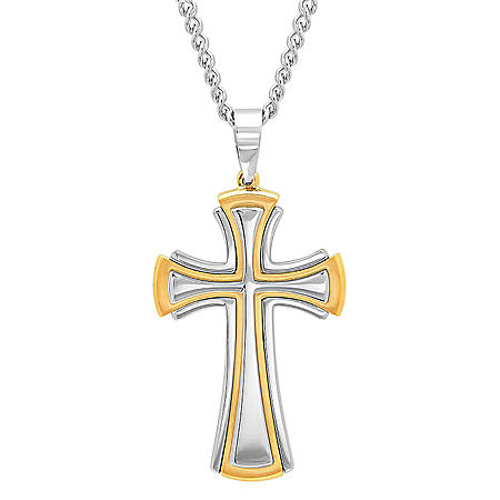Men's Stainless Steel with Yellow IP Plating Cross Pendant