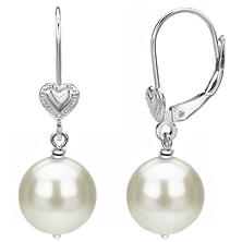 Freshwater Pearl Leverback Earring with Heart