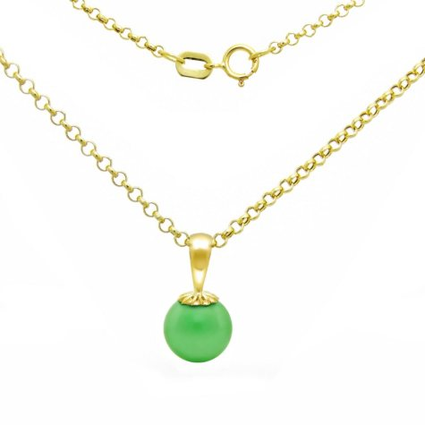 8mm Jade Pendant with 14K Yellow Gold Chain