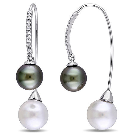 9-10.5mm Black and White Tahitian Cultured Pearl and Diamond Threader Earrings in 14K White Gold