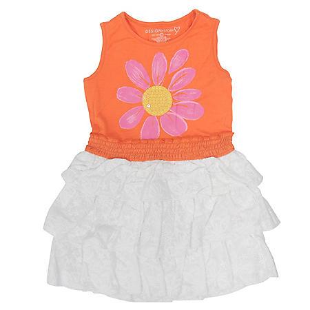 Girl's Orange and White Ruffle Dress