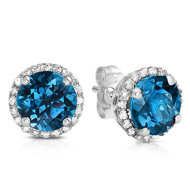 earrings round stud studs blue sterling cut sapphire silver