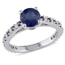 1.5 ct. Sapphire Engagement Ring with Diamond in 14k White Gold