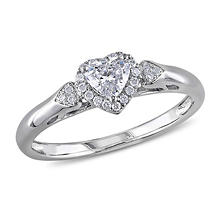 0.40 ct. t.w. Heart and Round-Cut Diamond Cluster Engagement Ring in 14K White Gold