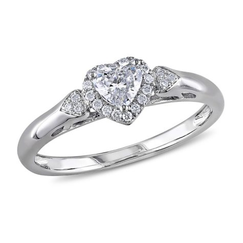 0.40 CT. T.W. Diamond Halo Heart Engagement Ring in 14K White Gold