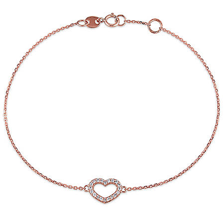 Diamond Heart Link Bracelet in 14K Gold