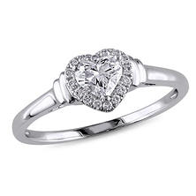 0.50 ct. t.w. Heart and Round-Cut Diamond Engagement Ring in 14k White Gold