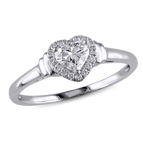 0.50 CT. T.W. Diamond Halo Heart Engagement Ring in 14K White Gold