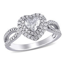 1.00 ct. t.w. Heart and Round-Cut Diamond Engagement Ring in 14k White Gold