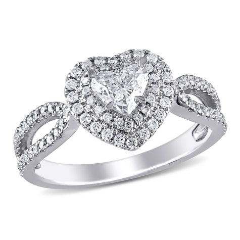 Allura 1 CT. T.W. Diamond Double Halo Heart Engagement Ring in 14k White Gold