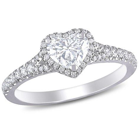 Allura 1 CT. T.W. Diamond Halo Heart Engagement Ring in 14K White Gold