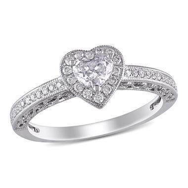 0.50 CT. T.W. Diamond Halo Heart Vintage Engagement Ring in 14K White Gold