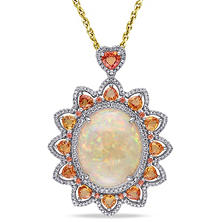 23 ct. Ethiopian Opal with Sapphire and Diamond Sun Design Pendant in 14K Two-Tone Gold