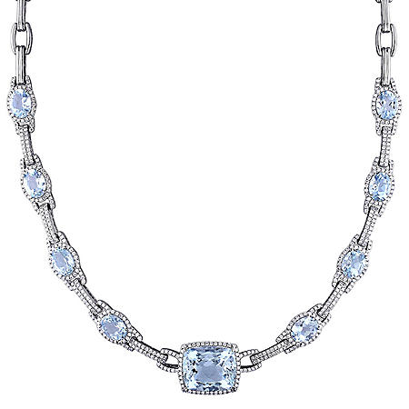 Allura 17.5 ct.  Aquamarine and 2.5 ct. t.w. Diamond Station Necklace in 14K White Gold