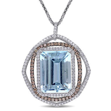 22.08 ct. Aquamarine with Brown and White Diamond Triple Halo Pendant in 14K White Gold