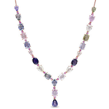 Allura 28.75 CT. Multi-Color Sapphire Teardrop Station Necklace in 14K Rose Gold