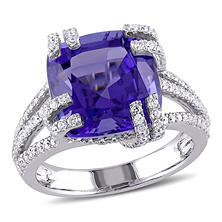 Allura 7.17 CT. Tanzanite and Diamond Split Shank Cocktail Ring in 14K White Gold