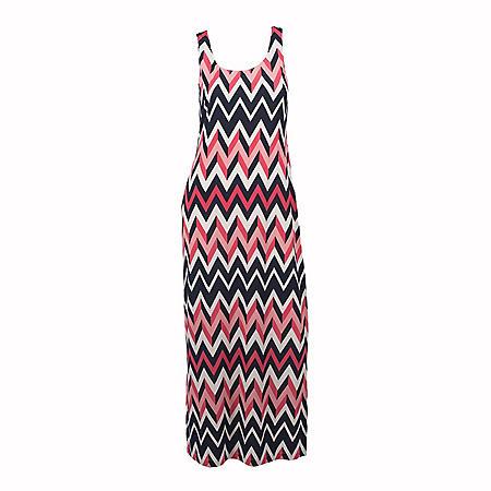 Sleeveless Chevron Maxi Dress (Assorted Colors)