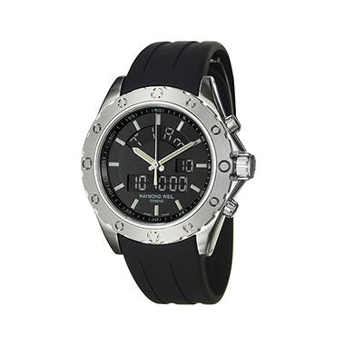 Raymond Weil Men's RW Sport Stainless Steel Case and Black Rubber Strap Digital, Chronograph Quartz Watch
