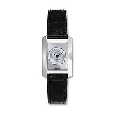 Concord Women's Delirium 18K White Gold Case and Black Alligator Leather Strap Quartz Watch