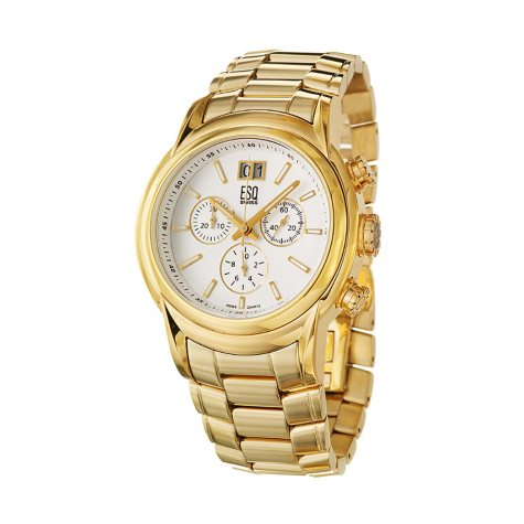 ESQ by Movado Men's Quest Stainless Steel Yellow Gold Plated Case and Bracelet Chronograph Quartz Watch
