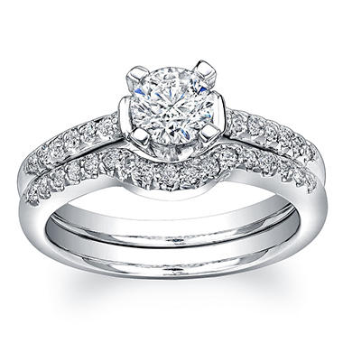 0.91 ct. t.w. Round-Cut Diamond Engagement Ring in 18K White Gold (H, I1)