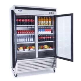 Atosa Reach-In Glass 2-Door Refrigerator