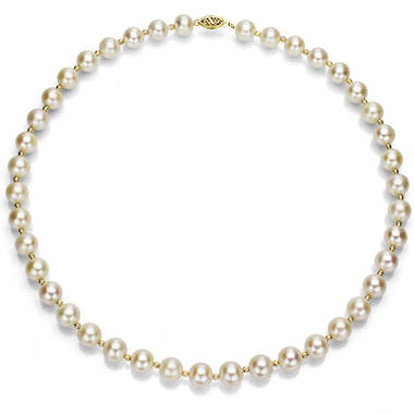 8-9 mm White Cultured Freshwater Pearl and 14k Yellow Gold Beads 18