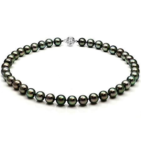 "9-11 mm Black Tahitian Pearl 18"" Necklace with 14k White Gold Ball Clasp"