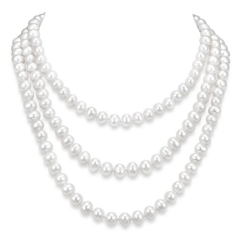 """9-10 mm White Cultured Freshwater Pearl 64"""" Endless Necklace"""