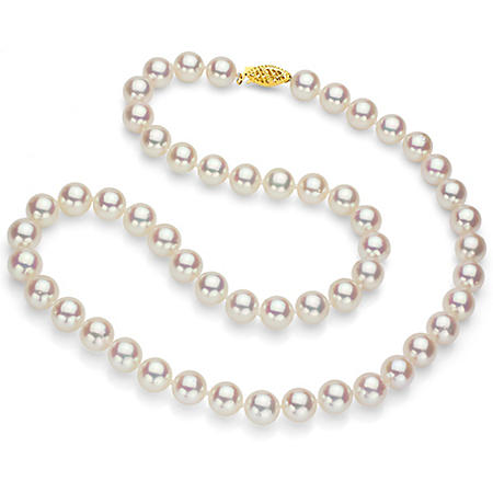 "White Round Akoya Pearl 18"" Strand Necklace with 14k Yellow Gold Clasp - Various Pearl Size Available"