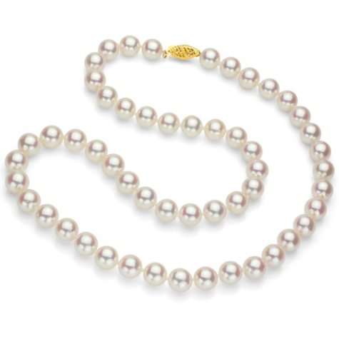 """White Round Akoya Pearl 24"""" Strand Necklace with 14k Yellow Gold Clasp - Various Pearl Size Available"""