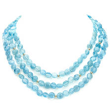 3-Row Coin Shaped Blue Aquamarine and 14k Yellow Gold Beads Necklace  (copy)