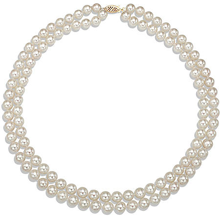 6.5-7 mm White Round Akoya Pearl 2-Row Strand Necklace with 14k Yellow Gold Clasp