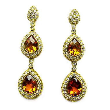 Sonia B. Diamond, Citrine & Yellow Sapphire Drop Earrings