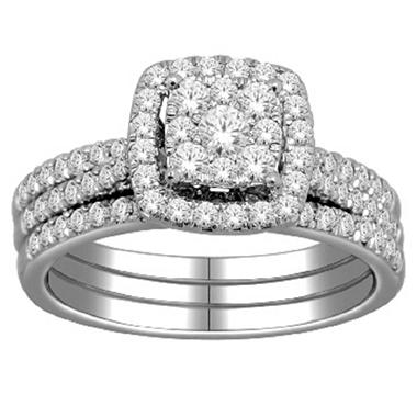 imperial diamond collection 100 ct tw square engagement set in 14k white gold i - Square Wedding Ring