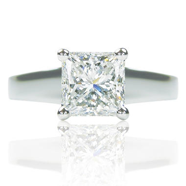 2.00 ct. Princess Cut Diamond Platinum Solitaire Ring (D, VS1)