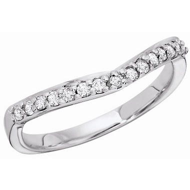 .23 CT. T.W. Curved Diamond Band with Shared Prong in 14KT White Gold
